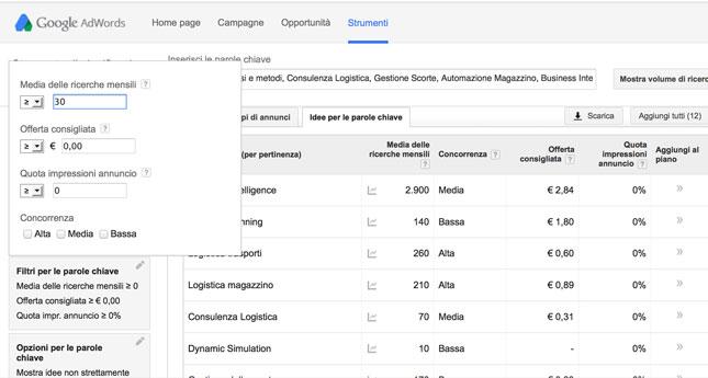 filtri per parole chiave keyword planner