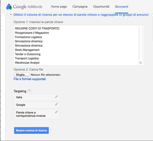 Ottieni il volume di ricerca del keywords planner