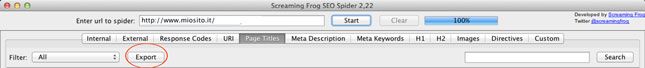 screaming frog esporta report page titles